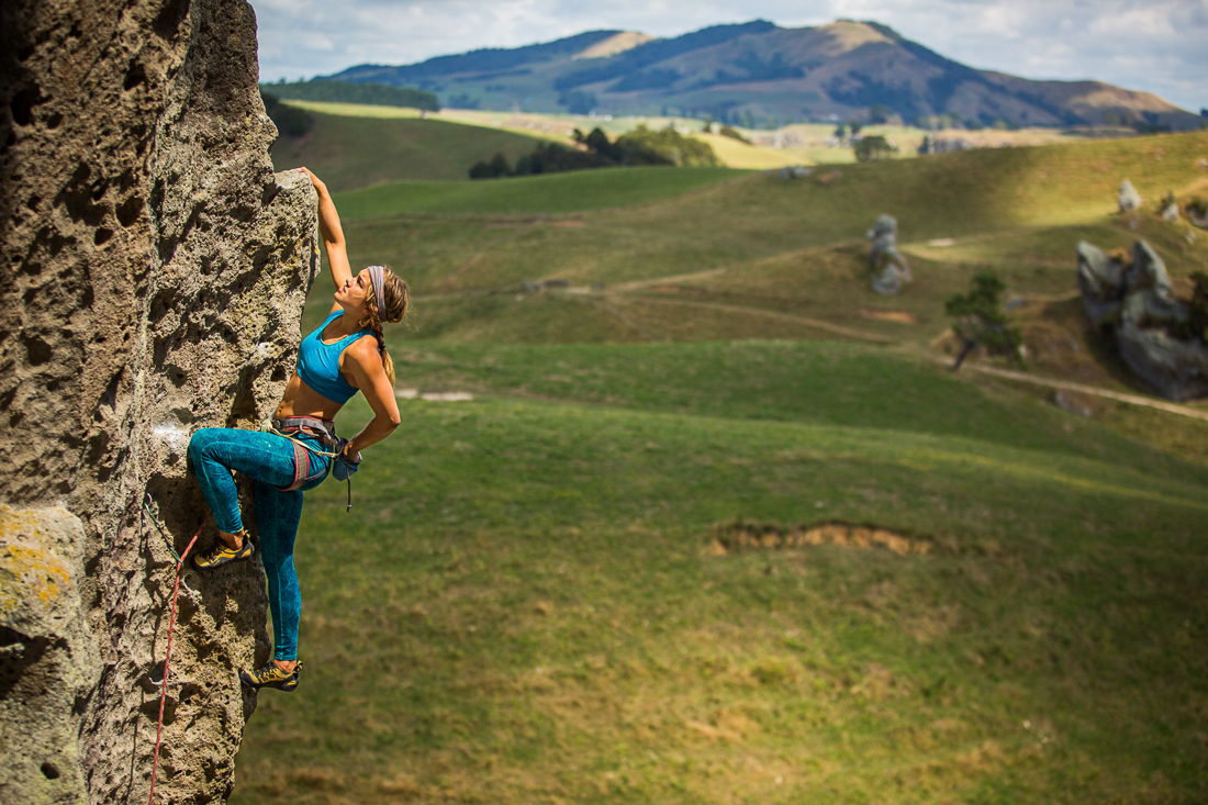 Kaleigh Anne, rock climbing, Wharepapa, New Zealand